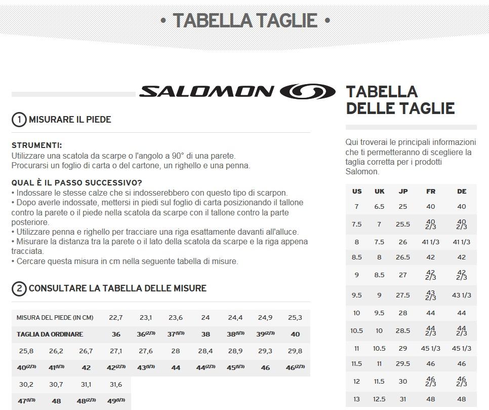 Risultati immagini per tabella taglie scarpe salomon
